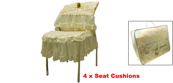 Luxury Embroidered Flower Lace Chair Back Covers and Seat Cushion Covers