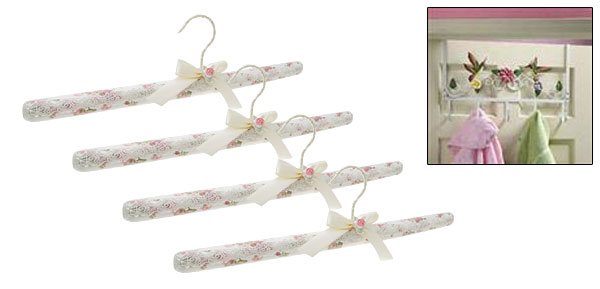 Pink Flower Bendable Foam Clothes Hanger with Swivel Hook