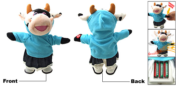 Lovely Like Real Soft Plush Walking Music Milk Cow Toy