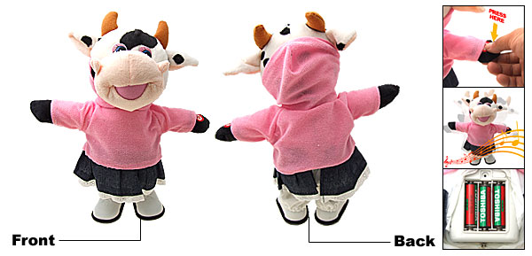 Pink Lovely Like Real Soft Plush Walking Singing Milk Cow Toy
