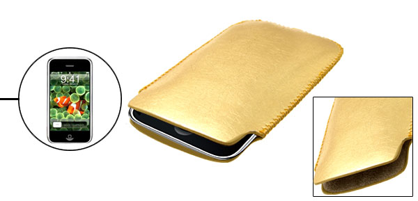 Golden Portable Faux Leather Sleeve Case for Apple iPhone 1st Generation non 3G