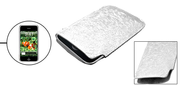 Gorgeous Silvery Portable Faux Leather Sleeve Case for Apple iPhone 1st Generation non 3G
