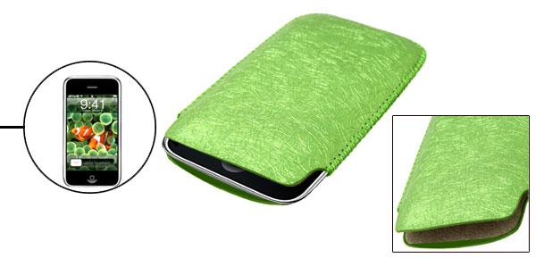 Green Portable Faux Leather Sleeve Case for Apple iPhone 1st Generation non 3G