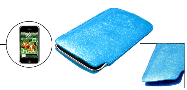Blue Leather Protective Sleeve Case for Apple iPhone 1st Generation