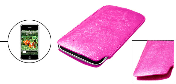 Amaranth Pink Portable Faux Leather Sleeve Case for Apple iPhone 1st Generation non 3G