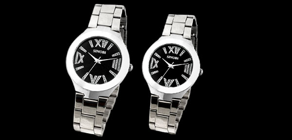 Couple Black Dial Metal Watchband Round Silvery Lovers Wrist Watches