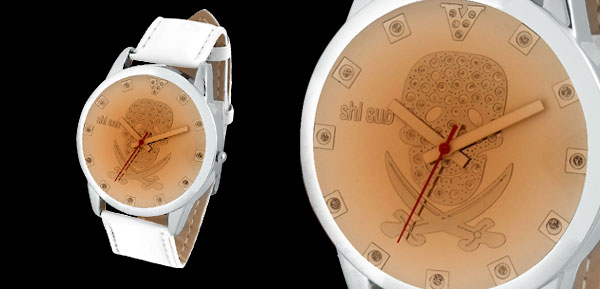 Fashion White Leather Watchband Skull Round Ladies' Wrist Watch