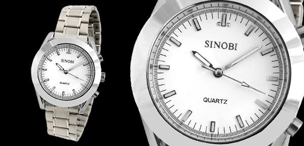 Fashion Metal Watchband Big Round Silvery Men's Wrist Watch