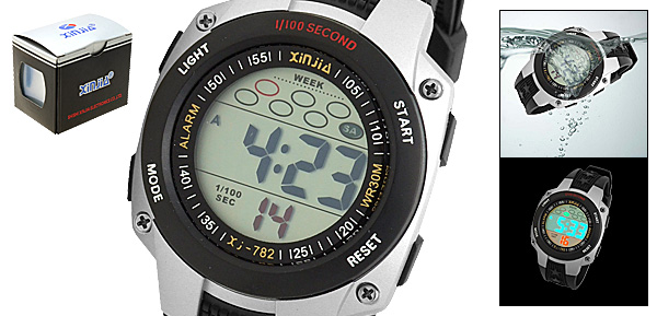 Cold-Light Plastic Round Electronic Sports Wrist Watch Black