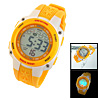 Multifunction Plastic Watchband Round Electronic Sports Wrist Watch Yellow