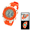 Multifunction Plastic Watchband Round Electronic Sports Wrist Watch Orange
