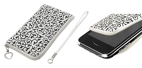White Faux Leather Pocket Money Cell Phone Holder Purse with Flower Raised Style