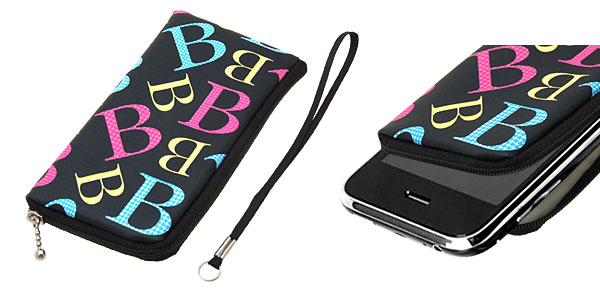 Cute B Portable Black Zipper Closed Holder Purse for iPhone Mp4