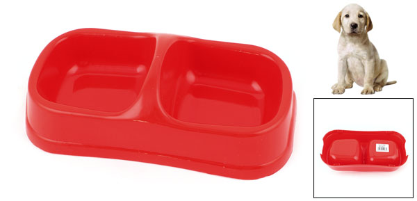 Red Plastic Double Square Bowls Dog Cat Pet Food Water Feeder Dish