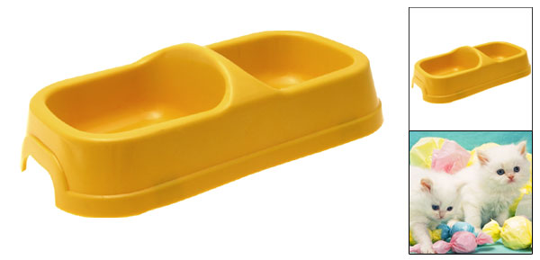 Yellow Plastic Double Square Bowls Dog Cat Pet Food Water Feeder Dish