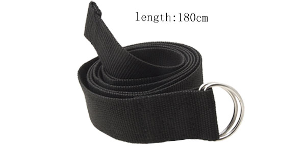 Black Soft Webbing Belt Easy Release Buckle Yoga Strap Belt