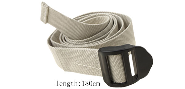 White Soft Webbing Belt Easy Release Buckle Yoga Strap Belt