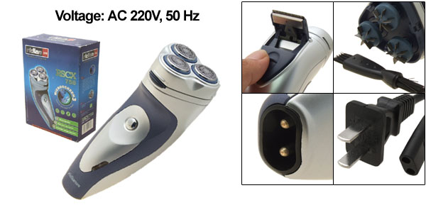 Portable Rechargeable Three Blades Rotary Electric Shaver Cutter