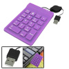 Retractable USB Purple Silicone Waterproof Number Keyboard for Windows Vista PC