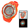 Round Orange Plastic Multifunction Sports Wrist Watch for Students