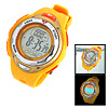 Yellow Multifunction Cold Light Plastic Watchband Round Wrist Sports Watch