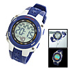 Blue Plastic Watchband Cold Light Round Multifunction Sports Wrist Watch
