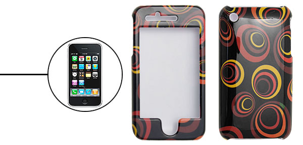 Black Hard Plastic Case with Round Pattern Design for Apple iPhone 3G