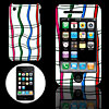 Multicolor Plastic Hard Case Cover with Grid Design for Apple iphone 3G