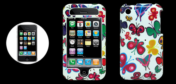 White Plastic Case with Butterfly Design for Apple iPhone 3G