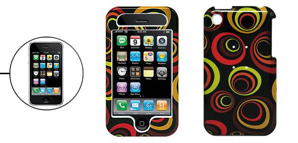 Black Hard Plastic Case with Multi-Color Ring for Apple iPhone 3G