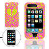 Pink Hard Plastic Case with Yellow Heart Design for Apple iPhone 3G