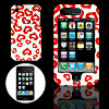 White Hard Plastic Case with Red Heart Design for Apple iPhone 3G