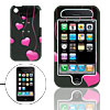 Black Hard Plastic Case with Pink Heart Design for Apple iPhone 3G