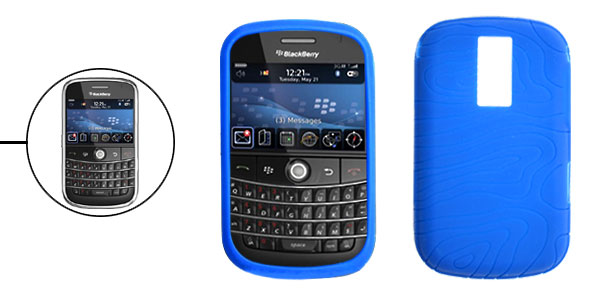 Navy-blue Anti-slip Silicone Case Cover Protector for Blackberry Bold 9000
