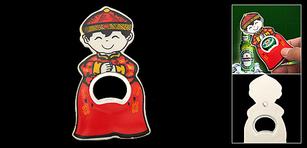 Red Traditional Chinese Suit Lovely Boy Beer Bottle Opener