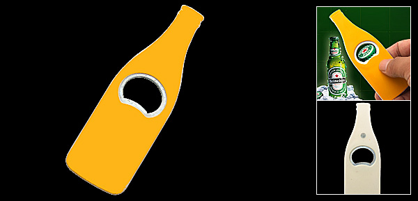 Palm Sized Yellow Slim Handle Beer Bottle Metal Opener