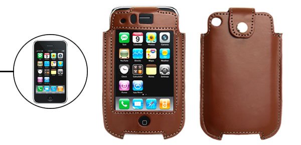 Brown Faux Leather Protective Vertical Case for Apple iPhone 3G