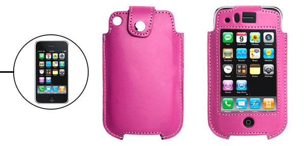 Amaranth Pink Faux Leather Protective Vertical Case for Apple iPhone 3G
