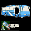 Palm Size Realistic Bus Metal Cap Bottle Opener Blue