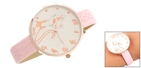 Leather Watchband Jewelry Cat Round Dial Girl Wrist Watch