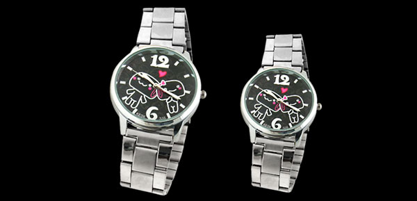 PAIR Cute Lover Dial Metal Watchband Couple Lovers Wrist Watches