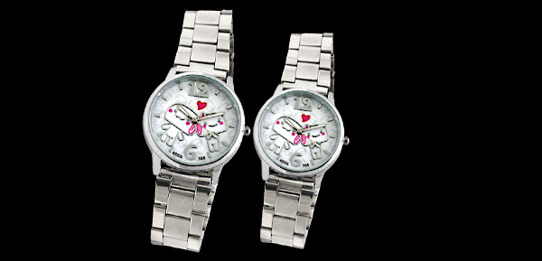 Pair Cute Sweet Lover Dial Silvery Metal Watchband Lovers Wrist Watches