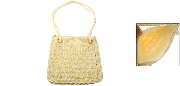 Fashion Handmade Straw Made Knitting Zipper Lady's Handbag