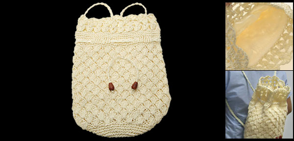 Girl's Handmade Straw Backpack Knitting Back Bag