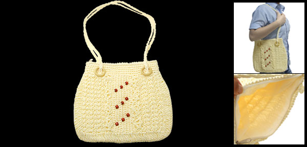 Fashion Lady's Handmade Straw Knitting Zipper Handbag with Wooden Beads