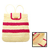 Red Stripe Beige Straw Backpack Knapsack for Lady