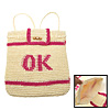 Lady's Cool Medium Pink 'OK' Stripe Straw Backpack Knapsack