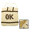 Lady's Gray 'OK' Stripe Straw Backpack Bag Knapsack