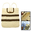 Charming Lady's Straw Backpack Bag Knapsack with Stripe