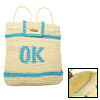 Sky Blue 'OK' Stripe Straw Backpack Knapsack Bag for Lady